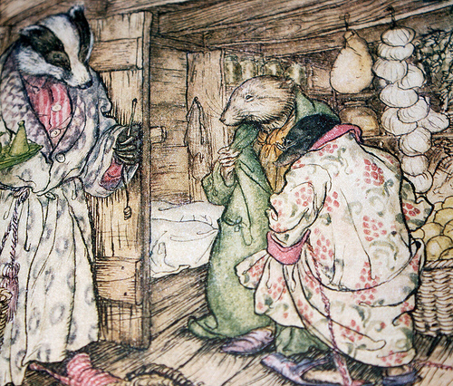 The badger's winter stores, which indeed were visible everywhere, took up half the room