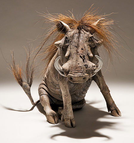 Nick Mackman warthog sculpture, raku-fired ceramic