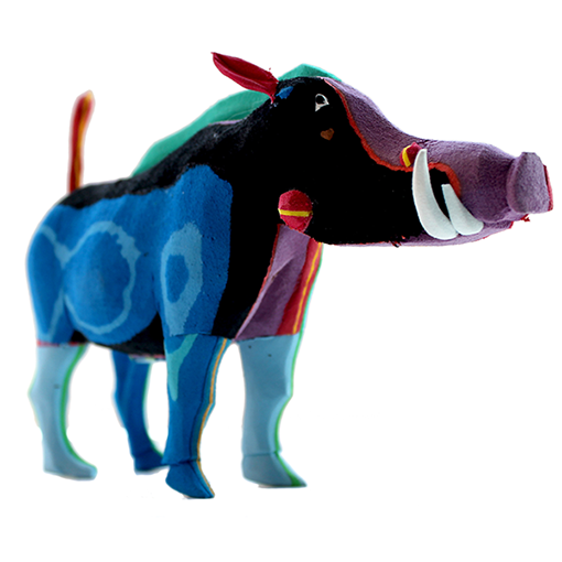 Warthog recycled sculpture by Ocean Sole