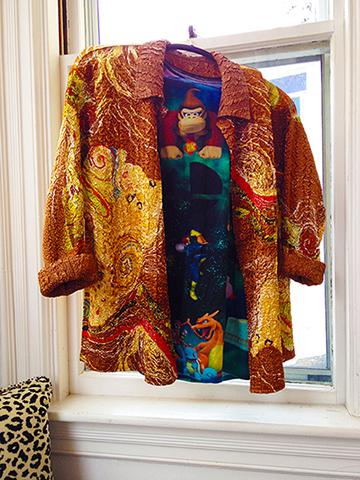 Combine Tshirt + silk jacket