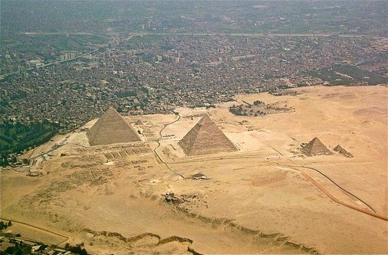 Desert approach to the Giza pyramids. via Wikipedia.