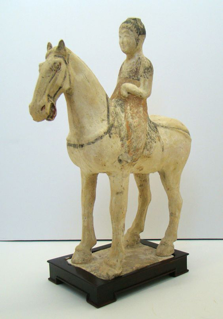 Tang Horse and Rider, Chinese ceramic. via collectingchineseceramics