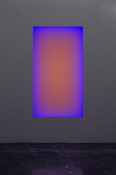 James Turrell, Gathered Light. LED light, etched glass, shallow space. Aperature size 86 x 48 inches, runtime approx 2.5 hours. via kaynegriffincorcoran. https://www.kaynegriffincorcoran.com/artist/view/1/james-turrell/