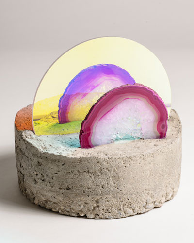 "Double Shadow Concrete/ Plexiglas/ Agate Slice 8""x 8"" x 7"" 6.2011 . via https://www.estherruiz.com/sculpture.html"