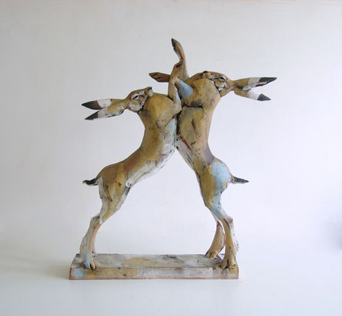Nicola Theakston, Jousting Hares, ceramic. 2014. Art edition of 24