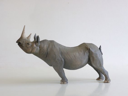 Nicola Theakston, 'Little Classical Rhino'. Ltd edition 40. Stoneware. 34cm l x 22cm. Limited Availability.