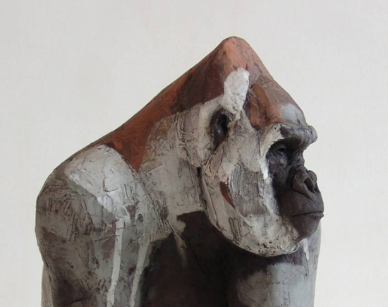 Nicola Theakston, 'Red Capped Mangabey' Coil construction in terracotta. 2015. SOLD.