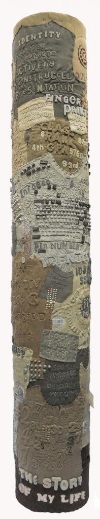 Diane Savona, Kiosk, textile art that includes text.