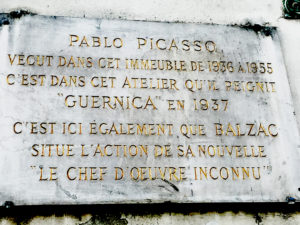 Plaque: Picasso and Balzac worked here.
